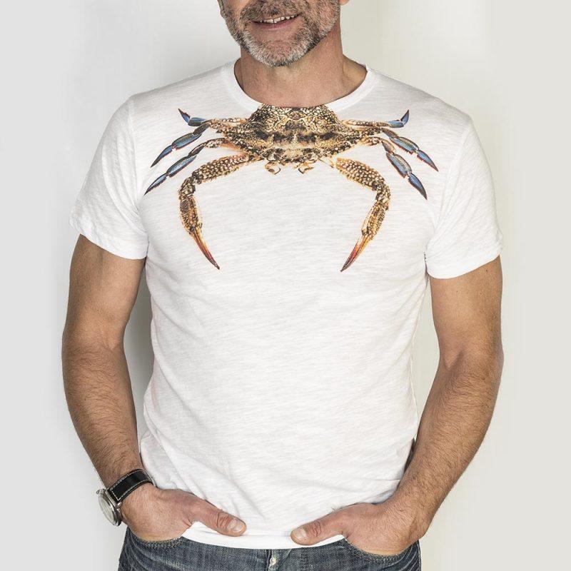 T-Shirt cotone Crab-granchio uomo T-shirt Crab White