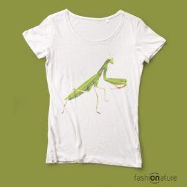 T-shirt Mantis White donna sagomata, con cuciture laterali. Tessuto con effetto Vintage con una piacevole resa al tatto. Realizzata in Jersey Organico 120 g - cool - moda
