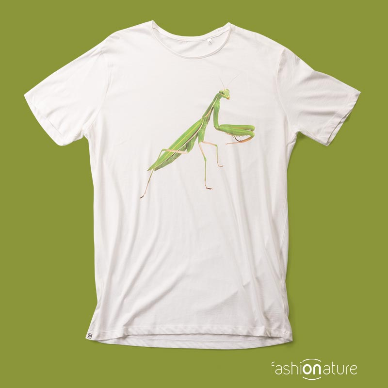 Men's Mantis white T-Shirt - Fashion Nature, l'esclusiva maglietta con la mantide