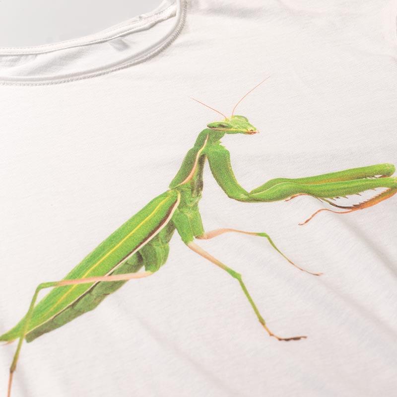Men's Mantis white T-Shirt - Fashion Nature, l'esclusiva maglietta con la mantide