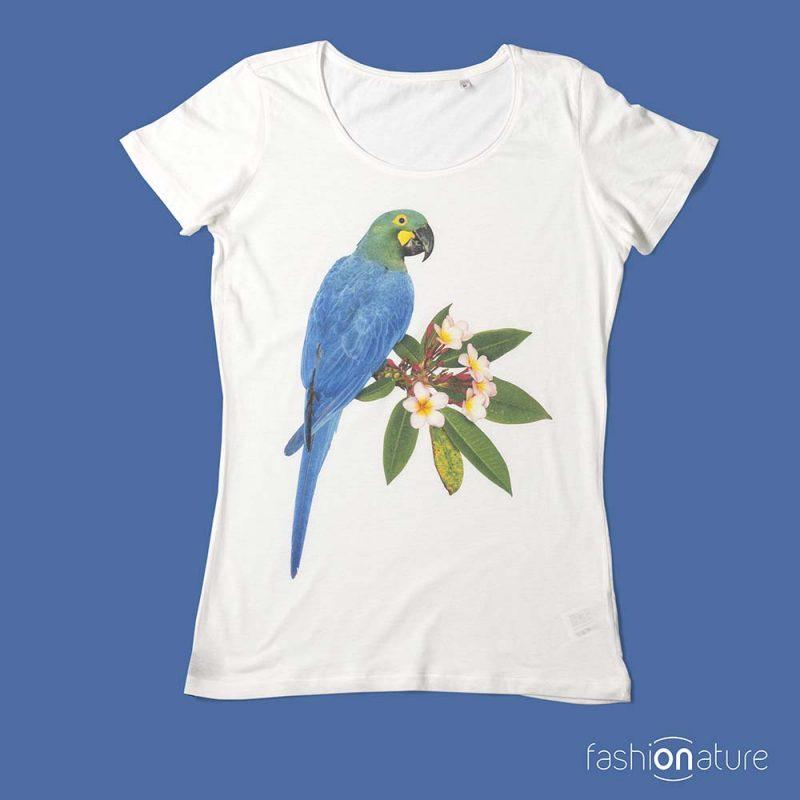 Women's Lears Macaw T-Shirt donna sagomata, con cuciture laterali. Tessuto con effetto Vintage con una piacevole resa al tatto. Jersey Organico 120g