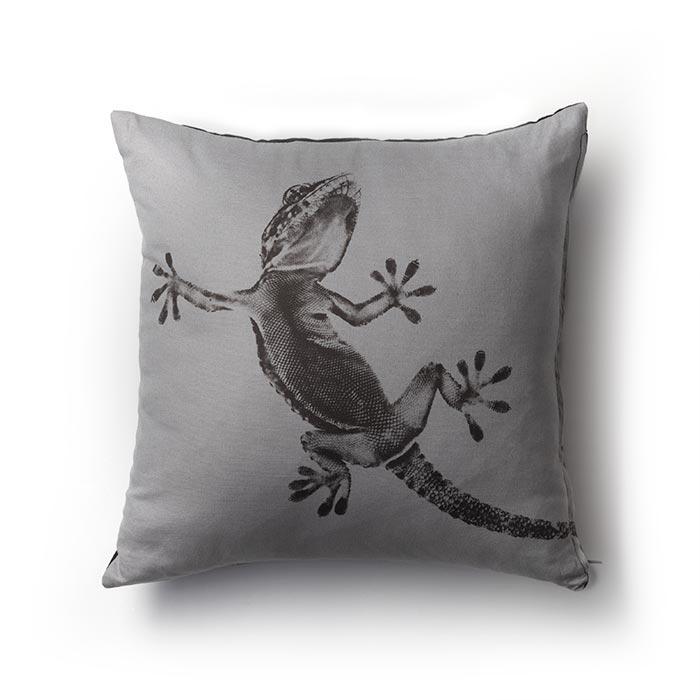 Cuscino Gecko bicolorore grigio nero fashionature cotone 100% AZO free