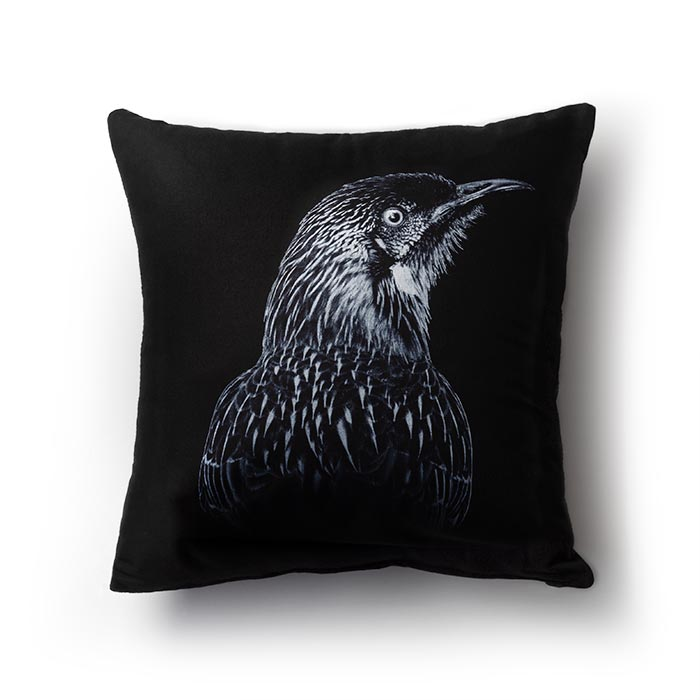 Cuscino Red Wattlebird-nero fashionature AZO free